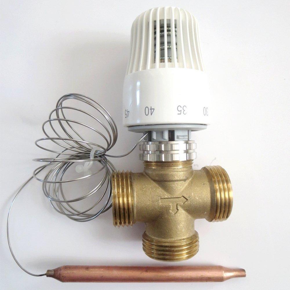 "Thermostatventil Kapillar 20-60°C 3-Wege 1""AG Messing - alfa-pool ..."
